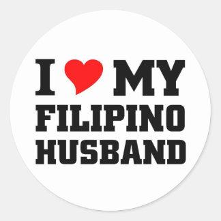 I love my filipino Husband Round Stickers