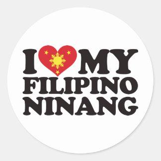 I Love My Filipino Ninang Classic Round Sticker