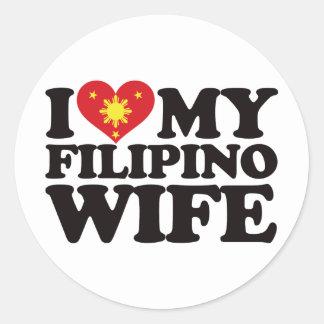 I Love My Filipino Wife Round Sticker