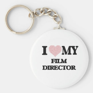 I love my Film Director (Heart Made from Words) Basic Round Button Key Ring