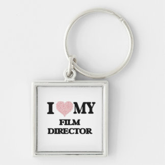 I love my Film Director (Heart Made from Words) Silver-Colored Square Key Ring