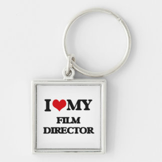 I love my Film Director Silver-Colored Square Key Ring