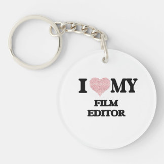 I love my Film Editor (Heart Made from Words) Single-Sided Round Acrylic Key Ring