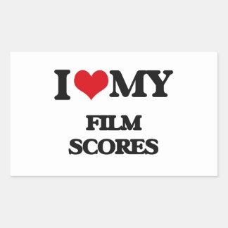 I Love My FILM SCORES Rectangular Sticker