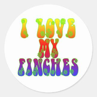 I Love My Finches Round Sticker