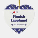 I Love My Finnish Lapphund (Female Dog) Christmas Tree Ornaments