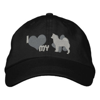 I Love my Finnish Spitz Embroidered Hat Gray