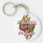 I Love My Firefighter Basic Round Button Key Ring