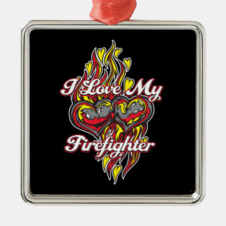 I Love My Firefighter Silver-Colored Square Decoration