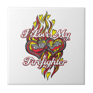 I Love My Firefighter Small Square Tile