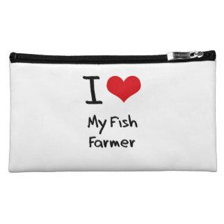 I Love My Fish Farmer Cosmetic Bags