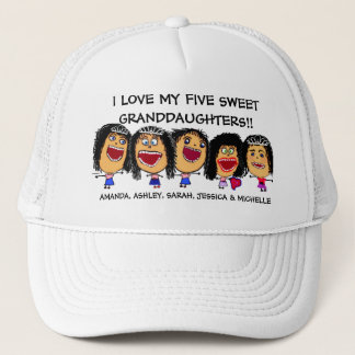 I Love My Five Granddaughters Cartoon Trucker Hat