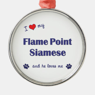 I Love My Flame Point Siamese (Male Cat) Christmas Ornament