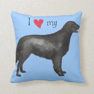 I Love my Flat-Coated Retriever Cushion