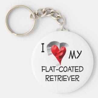 I Love My Flat-Coated Retriever Key Chain