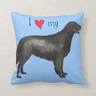I Love my Flat-Coated Retriever Throw Pillow