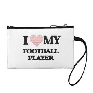 I love my Football Player (Heart Made from Words) Coin Wallet
