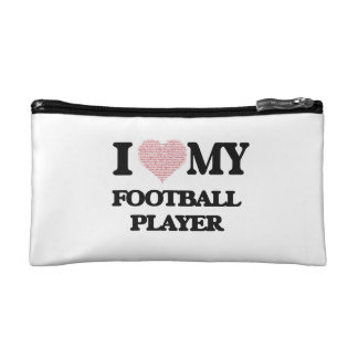I love my Football Player (Heart Made from Words) Cosmetic Bags