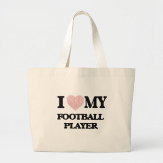 I love my Football Player (Heart Made from Words) Jumbo Tote Bag
