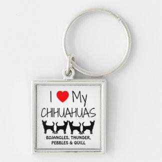 I Love My Four Chihuahua Custom Keychain