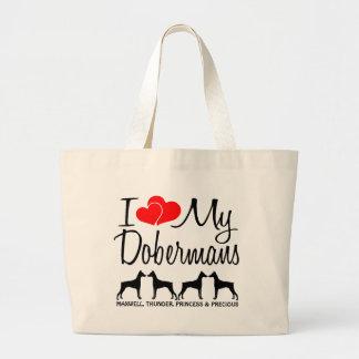 I Love My Four Dobermans Large Tote Bag