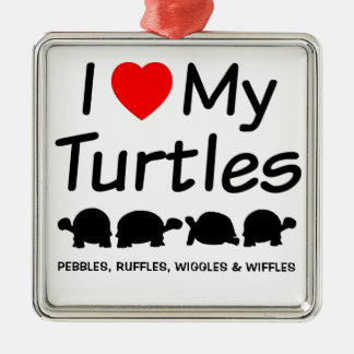 I Love My Four Turtles Silver-Colored Square Decoration