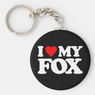 I LOVE MY FOX BASIC ROUND BUTTON KEY RING