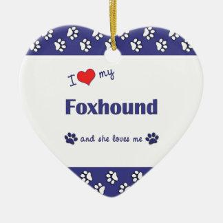 I Love My Foxhound (Female Dog) Christmas Ornament