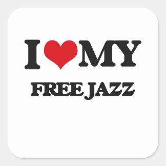 I Love My FREE JAZZ Square Stickers