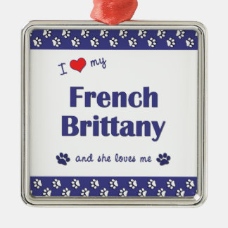 I Love My French Brittany (Female Dog) Christmas Ornament