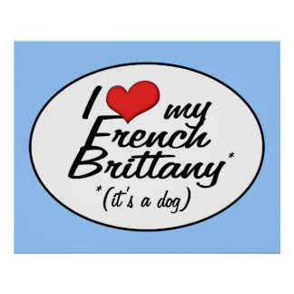 I Love My French Brittany (It's a Dog) Poster