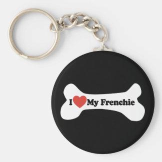 I Love My Frenchie - Dog Bone Key Ring