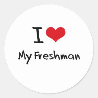 I Love My Freshman Round Sticker