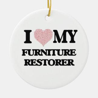 I love my Furniture Restorer (Heart Made from Word Round Ceramic Decoration