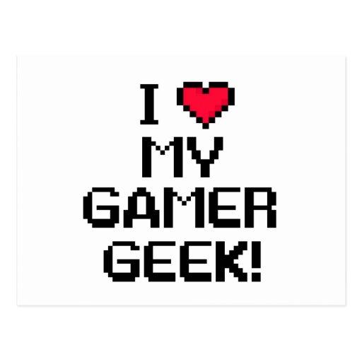 I Love My Gamer Geek Postcards