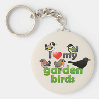I Love My Garden Birds Basic Round Button Key Ring