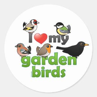 I Love My Garden Birds Round Sticker