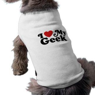 I Love My Geek Sleeveless Dog Shirt
