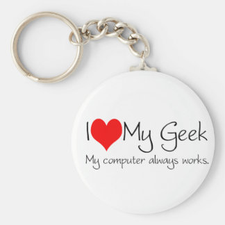 I love my geek basic round button key ring
