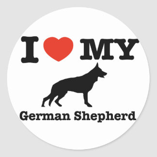 I love my German Shepherd Classic Round Sticker