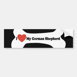 I Love My German shepherd - Dog Bone Bumper Sticker