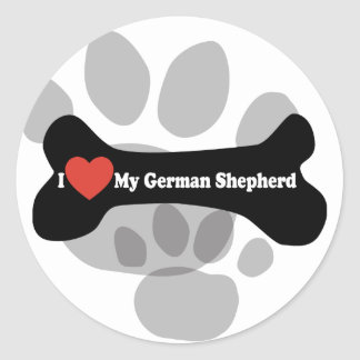 I Love My German shepherd - Dog Bone Classic Round Sticker