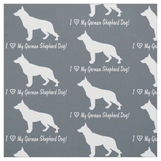 I Love My German Shepherd Dog Fabric