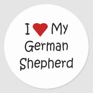I Love My German Shepherd Dog Lover Gifts Round Stickers