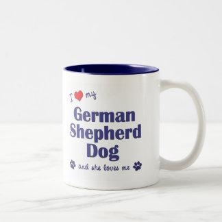 I Love My German Shepherd (Female Dog) Two-Tone Coffee Mug