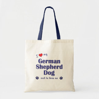 I Love My German Shepherd (Male Dog) Budget Tote Bag