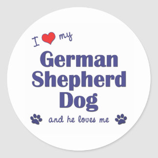 I Love My German Shepherd (Male Dog) Classic Round Sticker