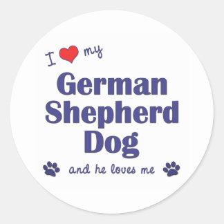 I Love My German Shepherd (Male Dog) Round Sticker