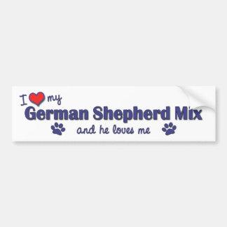 I Love My German Shepherd Mix (Male Dog) Bumper Sticker