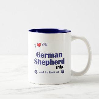 I Love My German Shepherd Mix (Male Dog) Two-Tone Coffee Mug